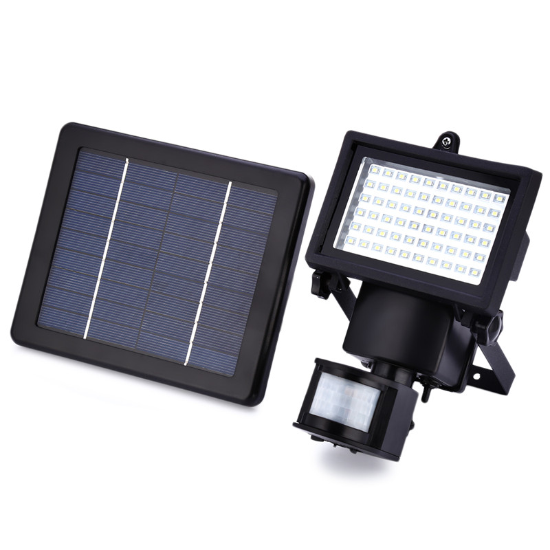 IP65 60 LEDS Solar LED Floodlight Outdoor White PIR Motion Sensor LED Flood Light Lamp For Garden Path Wall Emergency Lighting potenco solar led night light outdoor wall garden light pir motion sensor led lamp energy saving emergency lights waterproof