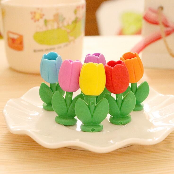 2pcs/pack/lot Color Beautiful Tulips Pot Design Nontoxic Demountable Eraser Students' Gift Prize Kids' Alpinia Toy Retail