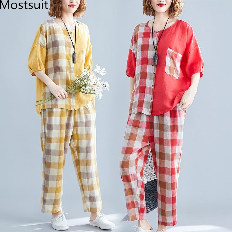 Mostsuit 2019 Summer Cotton Linen Plaid Two Piece Sets Outfits Women Plus Size