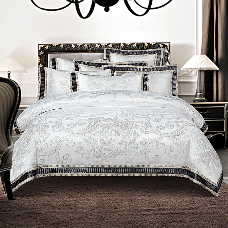 IvaRose 4/6-Pieces silk cotton Jacquard Luxury Bedding Set white Color Bed Set King Queen Bed Linens Duvet Cover Bed SheetIvaRose 4/6-Pieces silk cotton Jacquard Luxury Bedding Set white Color Bed Set King Queen Bed Linens Duvet Cover Bed Sheet