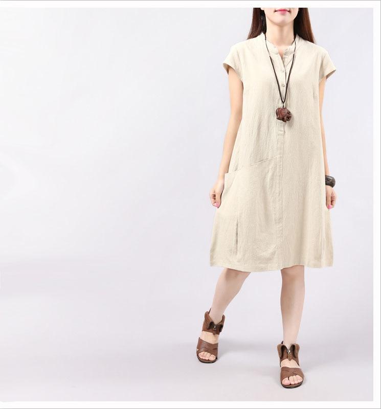 ef5417016ab 2019 Dress Summer Women Pockets 0 Neck Loose Summer Dresses For ...