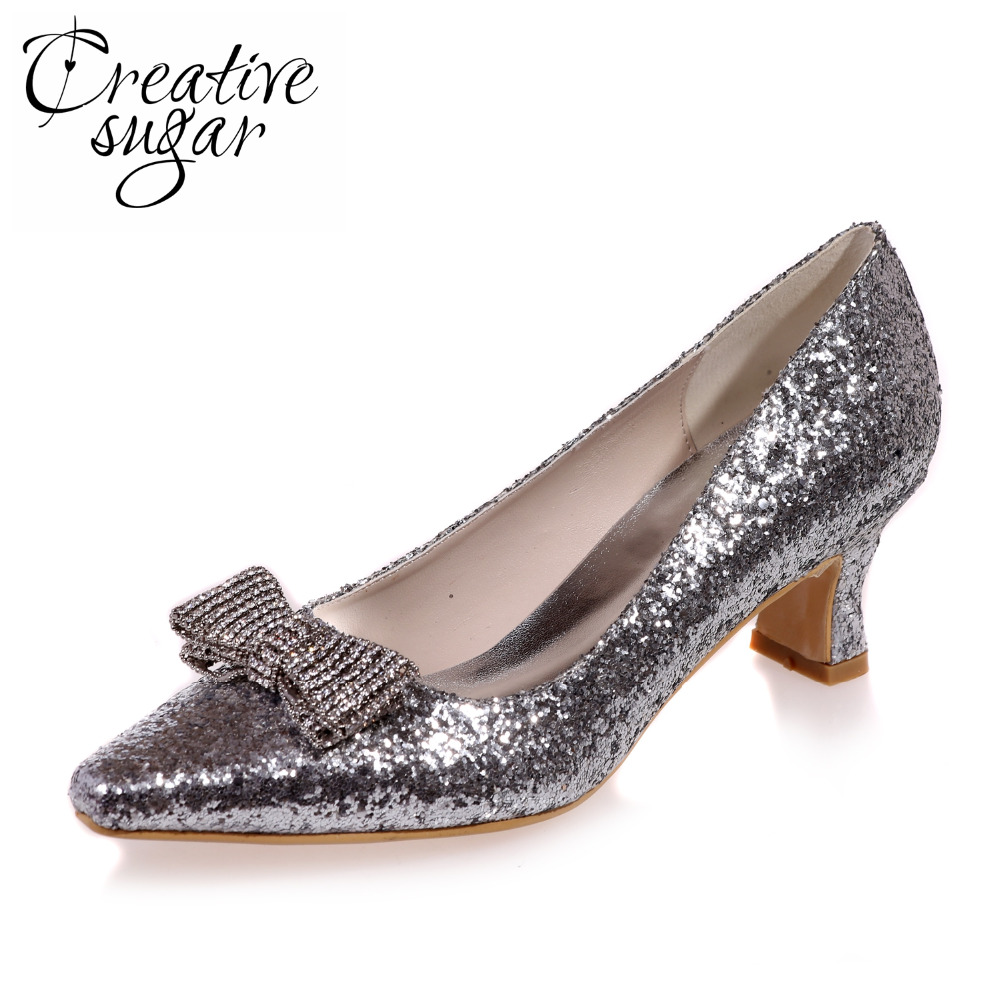 Creativesugar Comfortable low heel 3D metallic silver gold glitter party prom night club red carpet shoes pointed crystal bow подвеска для скейтборда 1шт ruckus trkrk2026 low silver red 4 75 19 1 см