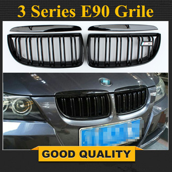 1 Pair Front Center Wide Kidney Grille Gloss Black Double Line for BMW E90 E91 05-08 grille