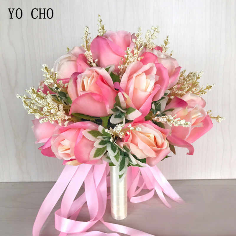YO CHO Bridal Bouquets Silk Roses White Pink Wedding Bouquet for Bridesmaids Artificial Flowers Marriage Supplies Wedding Decor