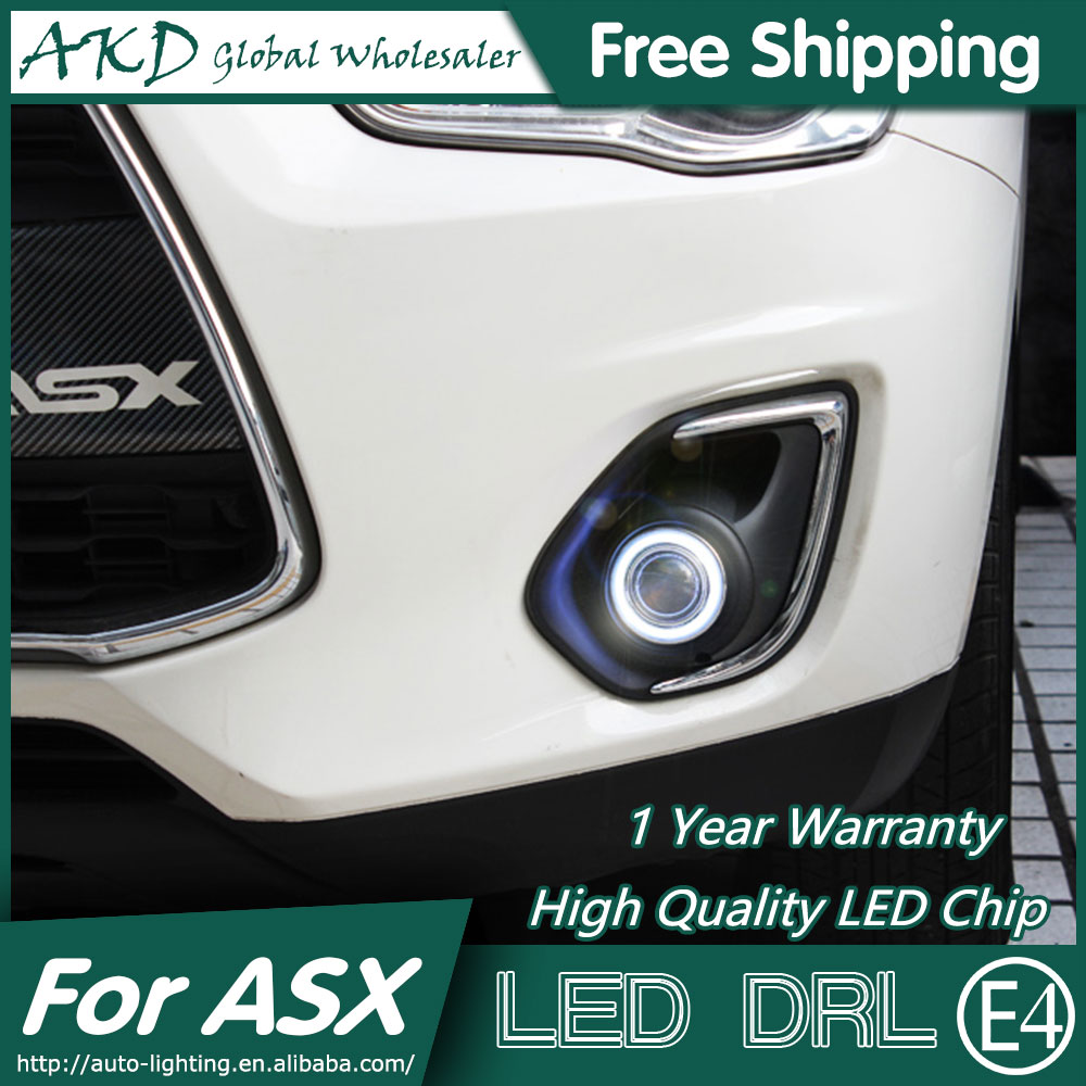 AKD Car Styling COB Angel Eye Fog Lamp for Mitsubishi ASX LED DRL 2012-2015 Daytime Running Fog Light Automobile Accessories cdx car styling angel eyes fog light for asx 2013 year led fog lamp led angel eyes led fog lamp accessories