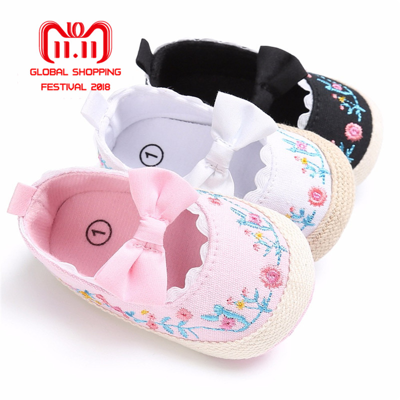 Puseky 2018 Toddler Newborn Baby Girl Shoes Bow Embroidery Princess First Walkers Soft Sole Anti-Slip Prewalker For Baby Girls frc2758