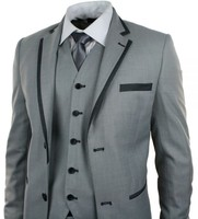 2017 Latest Coat Pant Designs Smoking Grey Wedding Suits For Men Slim Fit 3 Piece Tuxedo