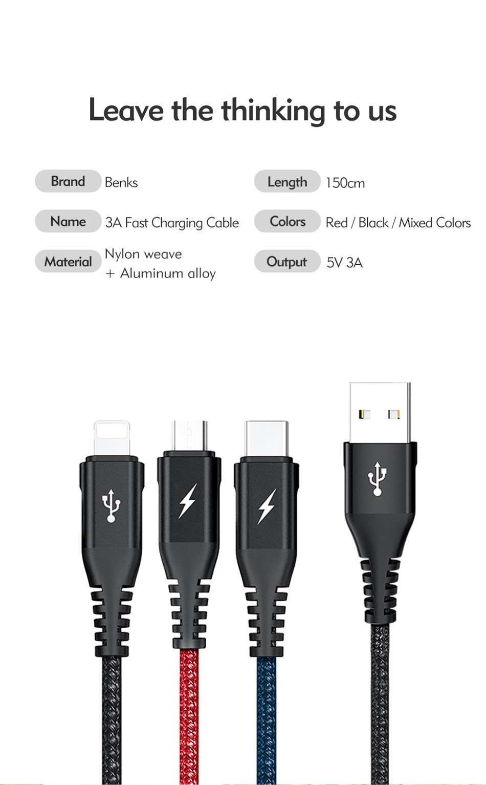 Benks Universal 3 In 1 Lighting Charger Cable For iPhone X 7 8 6 Plus Micro USB Type C For Oneplus Xiaomi 5 Phone Charging Cable (14)