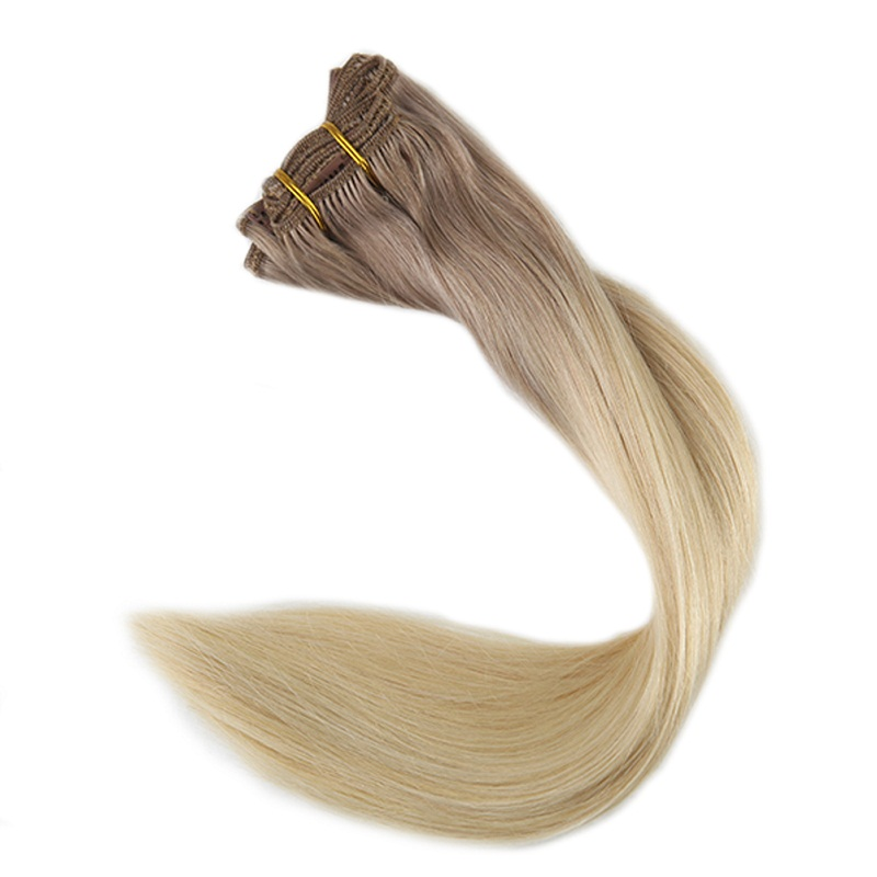 Full Shine Real Hair Clip In Extensions Ash Blonde Color #18 Fading To 613 Blonde 7Pcs 100g Remy Human Hair Clip Ombre Extension