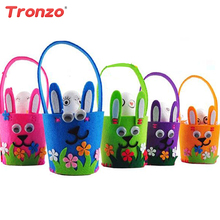 Tronzo Cloth Easter Basket Wedding Decoration DIY Colorful Bunny Rabbit Flower Basket With Egg Easter Decoration Party Supplies