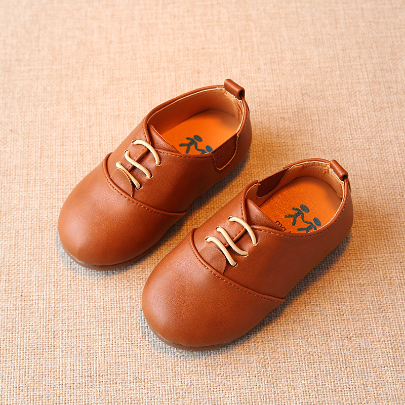 2017 NEW Spring autumn Fashion Children PU Leather Shoes Girls BOYS PURE Shoes Baby Girls Kids Single Flat Shoes British style