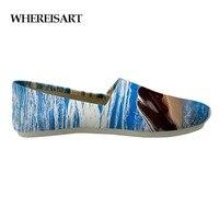 WHEREISART Summer Canvas Shoes 3D Blue Sea Dolphin Design Men Loafers Casual Shoes Animals Sneaker Teen Boys Zapatos de Hombre
