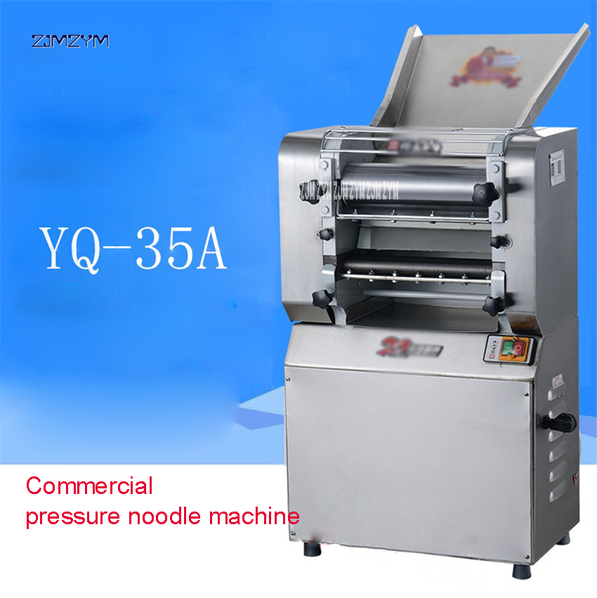 220V/50Hz Electric pressure stainless steel automatic noodle pressing machine commercial high-power dough rolling machine YQ-35A new premium high quality stainless steel commercial dough ball making machine automatic dough divider rounder for small business