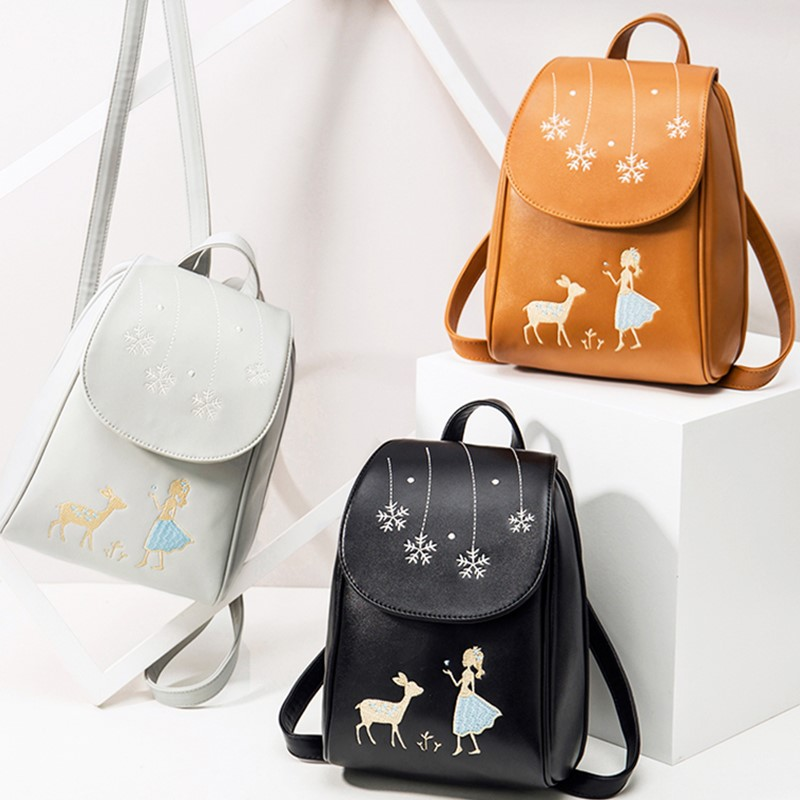 Kawaii Deer Embroidery Backpacks Women Small Travel School Bags For Teenage Girls Shoulder Bag Vintage PU Leather Black Backpack