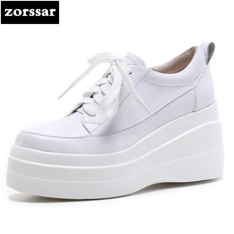 {Zorssar} 2018 NEW Genuine Leather casual creepers shoes woman Wedges height increasing High heels pumps women Platform shoes black women wedge slippers 12cm high heel platform pumps genuine leather shoes woman gladiator sandals slides wedges creepers