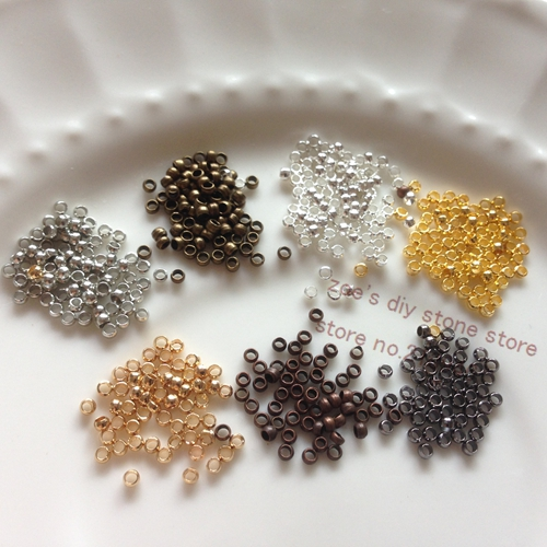 2MM 1000Pcs Copper Crimp & End Beads DIY Jewelry Findings & Components 1000pcs 1 4w metal film resistors 750kohm 1