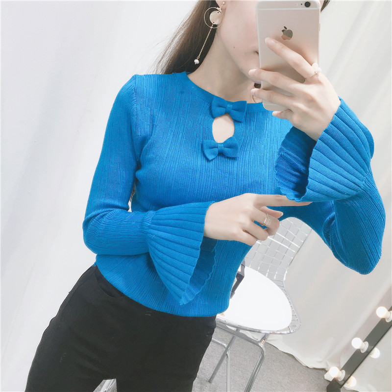 Autumn winter sweater women 2018 new pure color bow collar knitted sweater long sleeve slim in Pullovers from Women 39 s Clothing