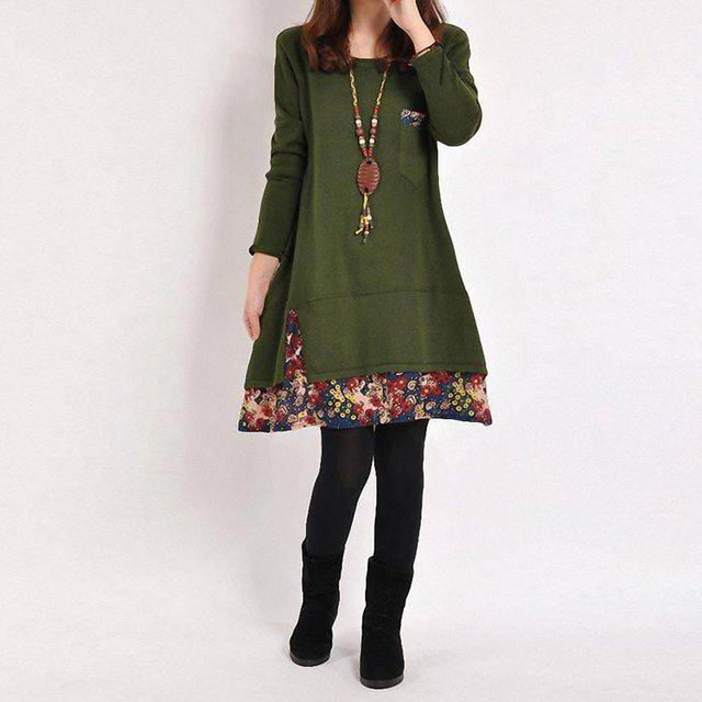 783fbfd27b45b Winter Dress Plus Size Women Vintage Christmas Dress Loose O Neck Patchwork  Mini Dress Ladies Floral