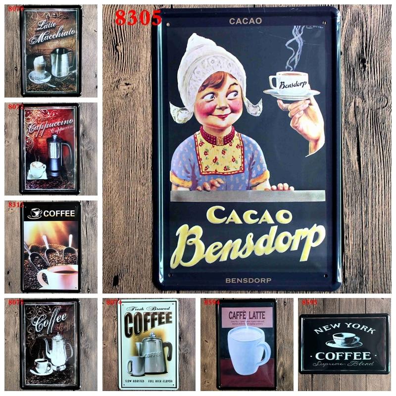 Káva Kovová deska Vintage plechová cedule Železo Malování Bar - Dekorace interiéru