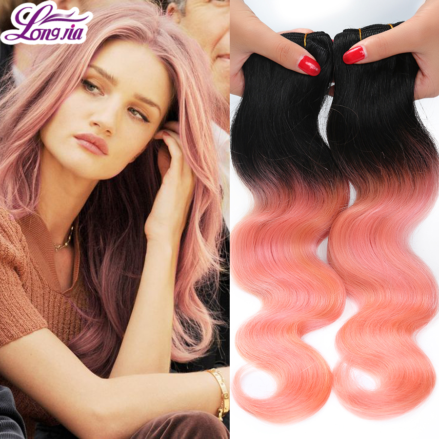 Pink Weave Bundles Two Tone Brazilian Weave Hair 4pcs Rose Gold