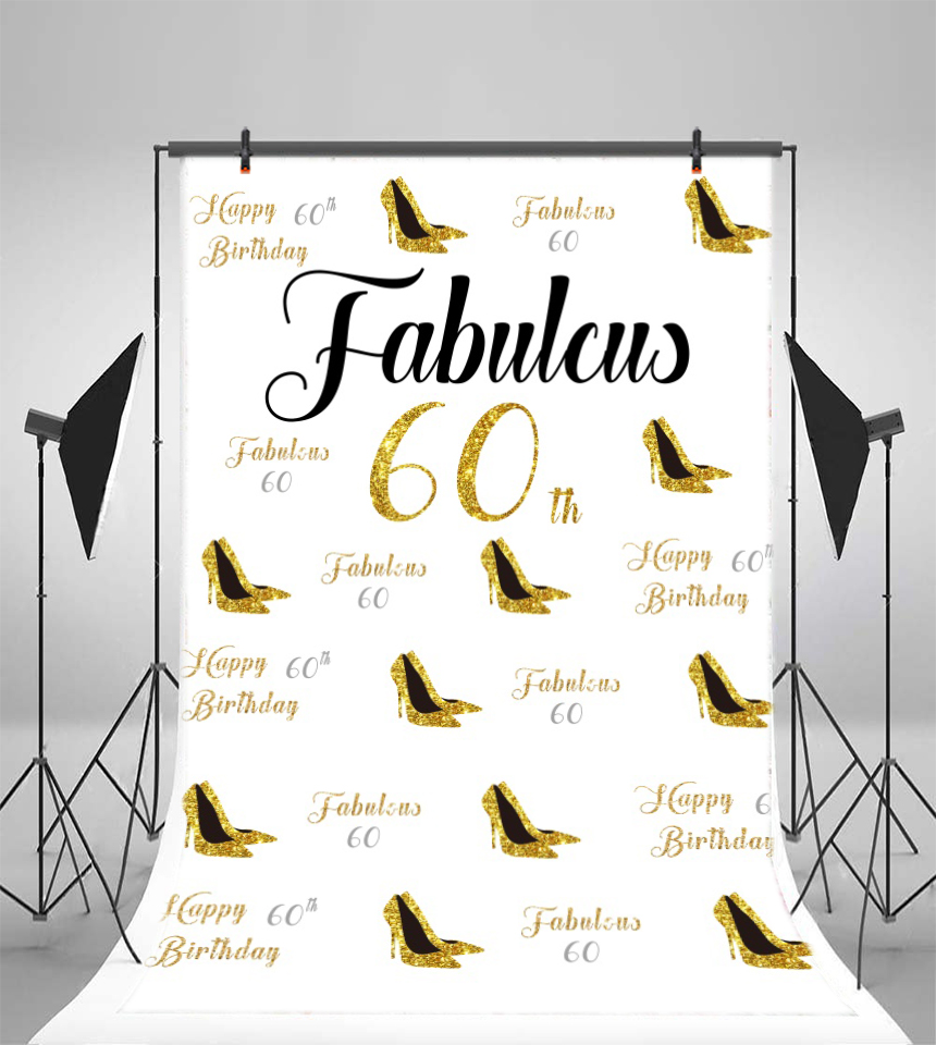 Laeacco <font><b>60th</b></font> <font><b>Birthday</b></font> Party Gold High Heel Fabulcus Photography Backgrounds Customized Photographic <font><b>Backdrops</b></font> For Photo Studio image