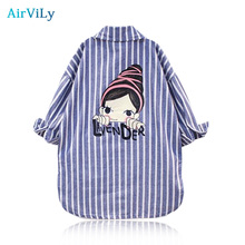 Baby Kids Girls Autumn Shirts Stripes Long Lapel Jacket Blouses Full Striped Tee Tops Outwear Outfits Blouse Children Clothing