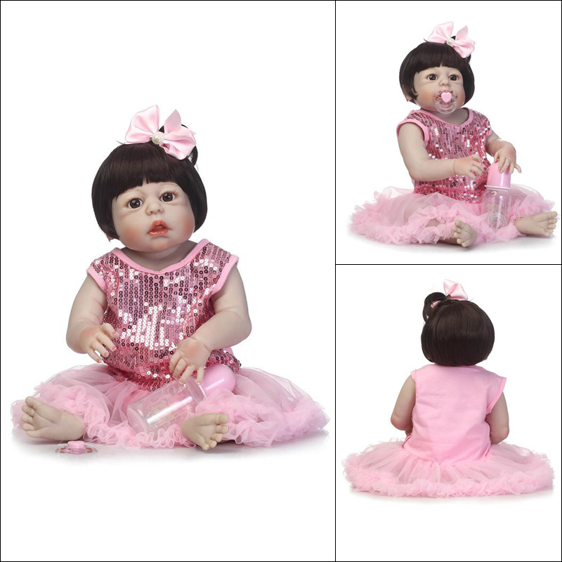 New 56cm Quality Full Silicone Reborn Body babies cute lovely dolls Collection Silicone baby reborn doll for girl birthday gift