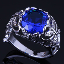 Gleaming Round Blue Cubic Zirconia 925 Sterling Silver Ring For Women V0445