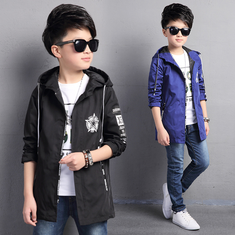 ФОТО Kids boys spring / autumn jacket 2017 new baby boys fashion clothing big virgin Pentagram Hooded coat 4/5/6/7/8/9/10/11/12/13/14