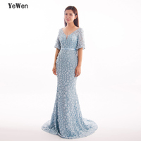 Mermaid Short Sleeves Luxury Evening Dresses Flowers Pearls Party Prom Formal Dress Women Elegant Gowns 2018 Prom Dress YeWen