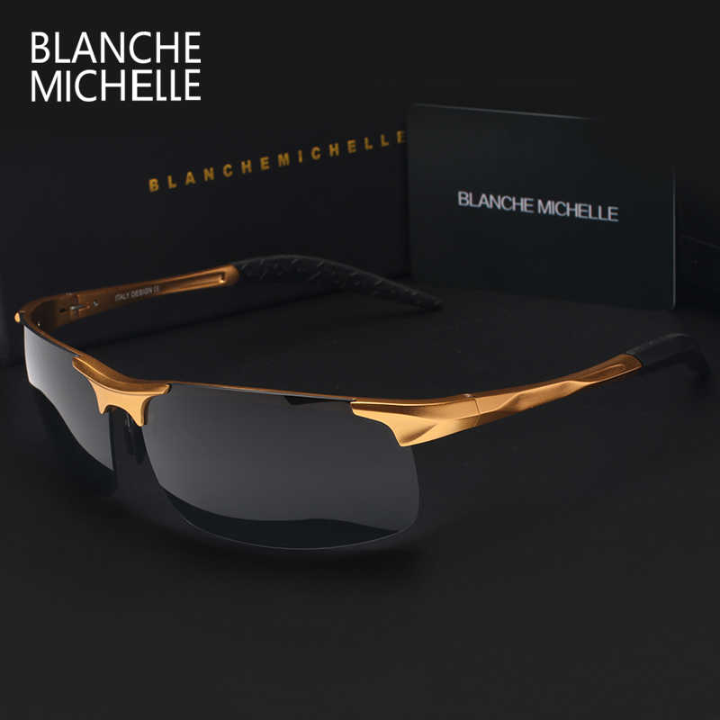 High Quality Ultra-light Aluminum Magnesium Sports Sunglasses Polarized Men UV400 Rectangle Gold Outdoor Drive Sun Glasses