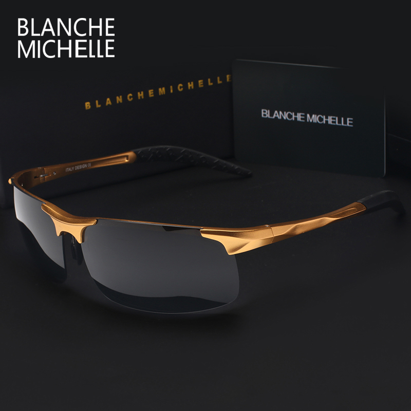 Högkvalitativa Ultra Light Aluminium Magnesium Sports Solglasögon Polariserade Män UV400 Rektangel Gold Outdoor Drive Sun Glasses