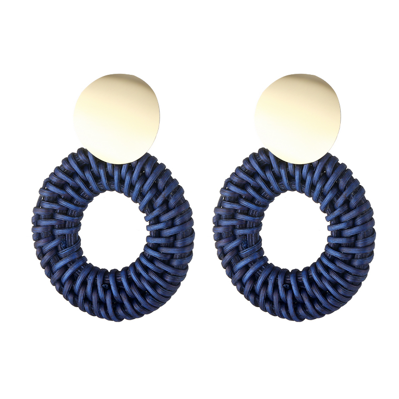 LOVBEAFAS Statement Golden Metal Handmade Earrings For Women Jewelry Straw Weave Rattan Geometric Big Circle Boho Drop Earrings