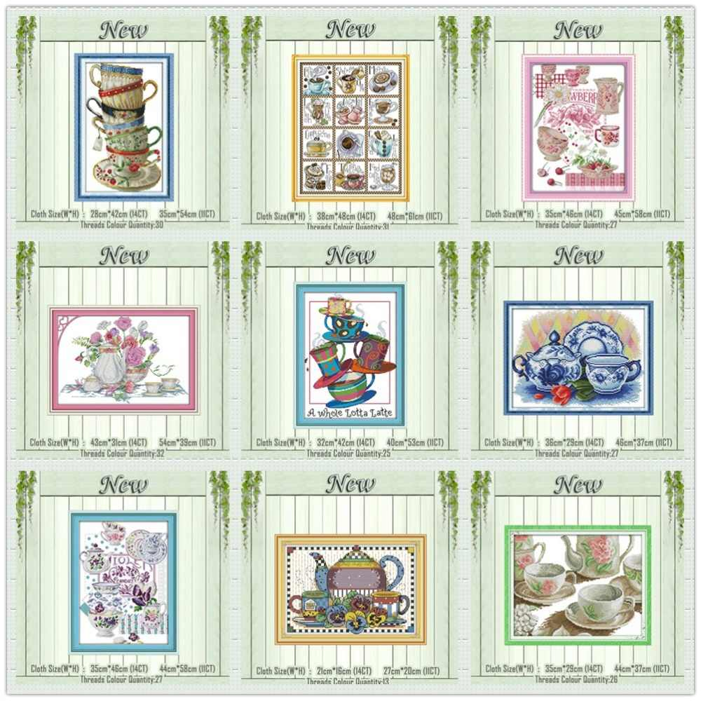 Elegant coffee cup tea set Teapot painting counted print on the canvas DMC 11CT 14CT kits Cross Stitch embroidery needlework Set