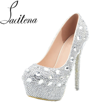 Crystal Glass Diamond Shoes Silver Platform High Heel Shoes Women Pearl Shoes  Women s Crystal Shoes( f31fe11dc690