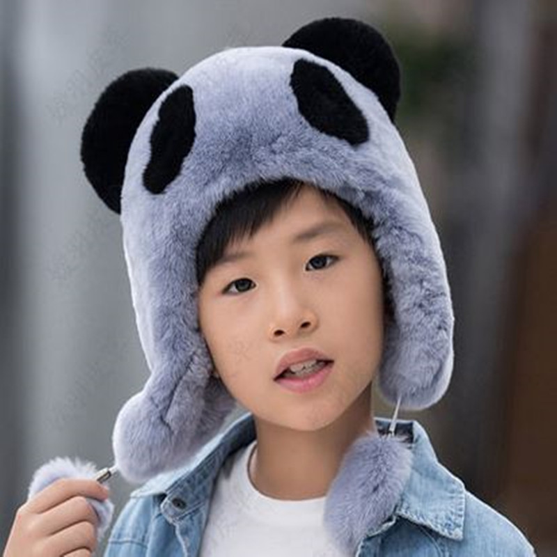 Children's fur hat rex rabbit fur scarves leather boys and girls Universal warm winter cold cap hat Teen hats new autumn winter warm children fur hat women parent child real raccoon hat with two tails mongolia fur hat cute round hat cap
