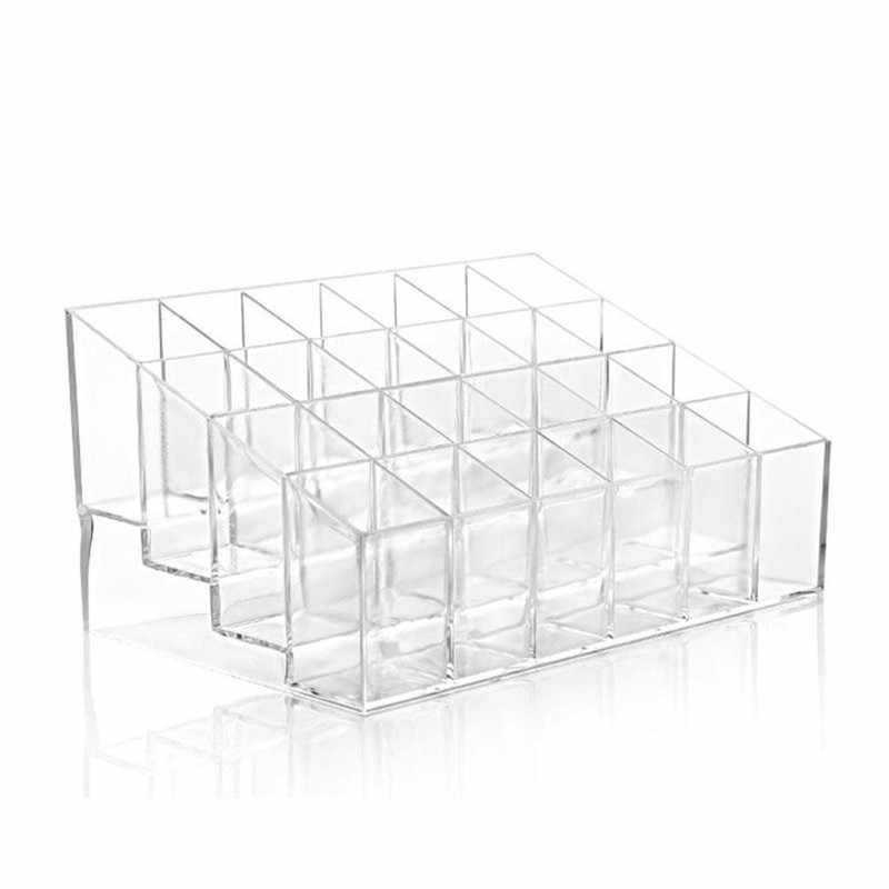 Junejour 24 Grid Acrylic transparent Makeup Organizer Storage Boxes Make Up Organizer lipstick holder Jewelry Box Holder Display