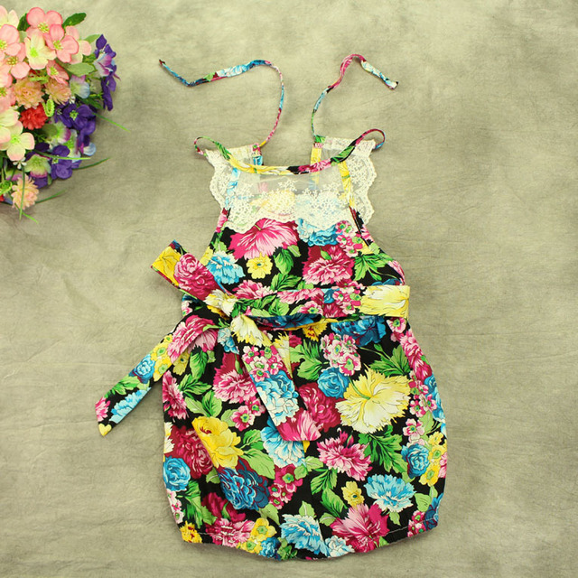 4e9558d79 Free shipping Ruffled Baby Girls Cotton flower Sunsuit lace Rompers ...
