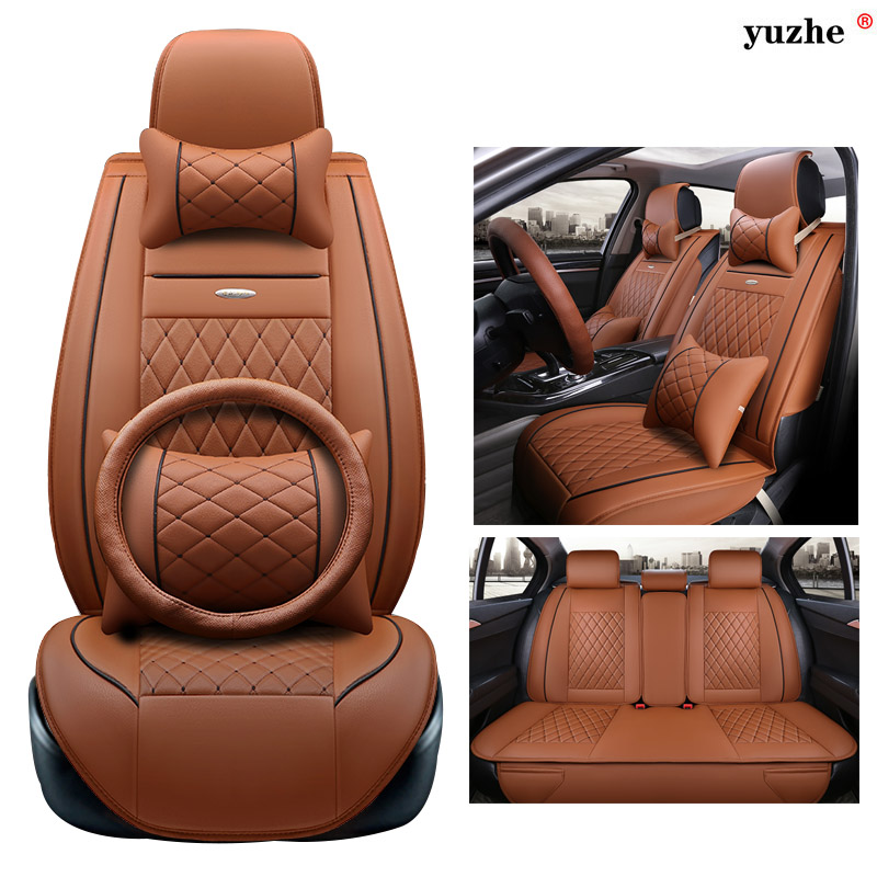 Yuzhe leather car seat cover For Peugeot 205 206 207 2008 3008 301 306 307 308 405 406 407 car accessories styling cushion for peugeot 206 207 307 308 301 406 407 3008 new brand luxury soft pu leather car seat cover front