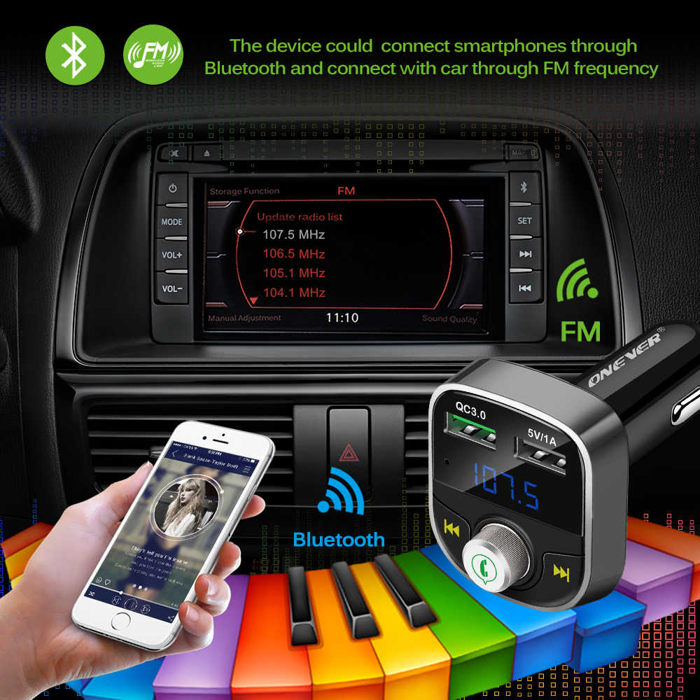 Onever Bluetooth transmisor FM 2-USB cargador de coche para xiaomi roidmi 2 s construir en hablando A2DP música MP3 Coche -estilo