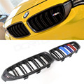 For BMW 4 Series F32 F33 F36 & F82 F83 M4 & F80 M3 2014 - UP Dual Slats Carbon Fiber Front Grille With Three Color M look