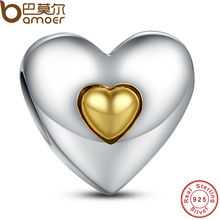 925 Sterling Silver Happy Anniversary with The Two-tone Charm Fit Bracelet with Gold Plated Heart Jewelry Making PAS003