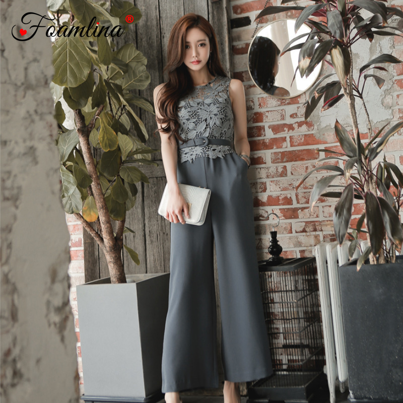 26f332311024 Foamlina Crochet Lace Patchwork Jumpsuit Women Fashion Sleeveless Belted  High Waist Wide Leg Casual Work Long Jumpsuit Rompers-in Jumpsuits from  Women s ...