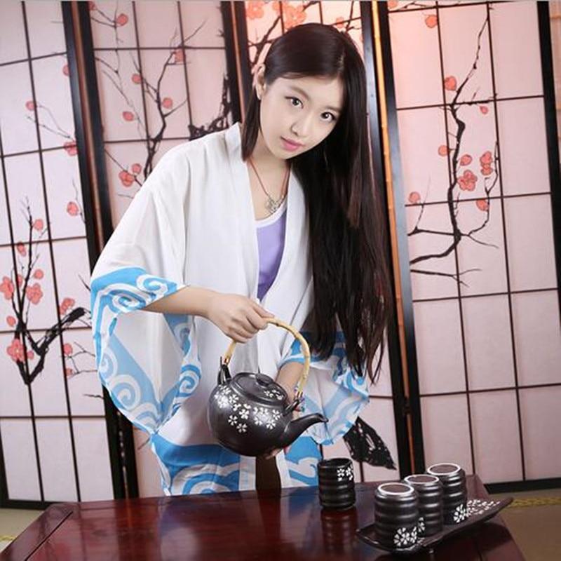 New Arrival Unisex Anime GINTAMA Sakata Gintoki Cosplay Halloween Costumes Woman Chiffon Jacket  Strawberry Shorts XHDMxz0004