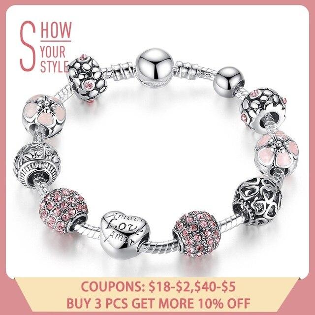 BAMOER античный серебряный шарм браслет и с любовью цветок бусины для женщин Свадебные украшения 4 цвета 18 см 20 21 PA1455