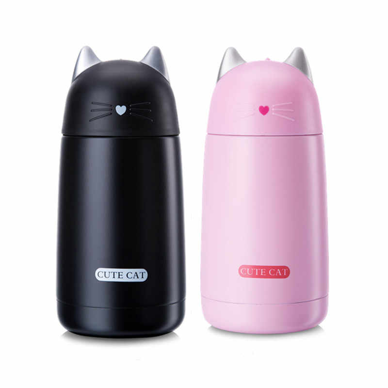 330ml Cute Cat Stainless Steel Vacuum Cup Kids Thermos Mug Drinkware Portable Children Thermal Bottle Tumbler Thermocup Gifts