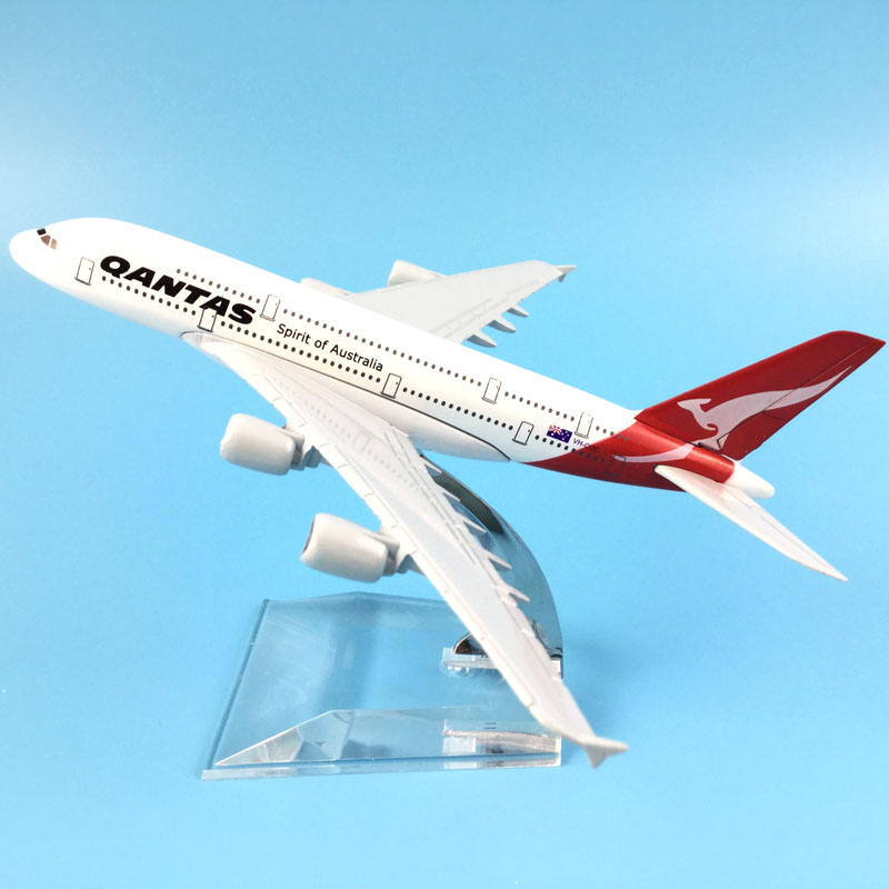 16cm Alloy Metal AIR Australian Qantas A380 Airlines Aircraft Airbus 380 Airways Airplane Model Plane Model W Stand Gift M6-043