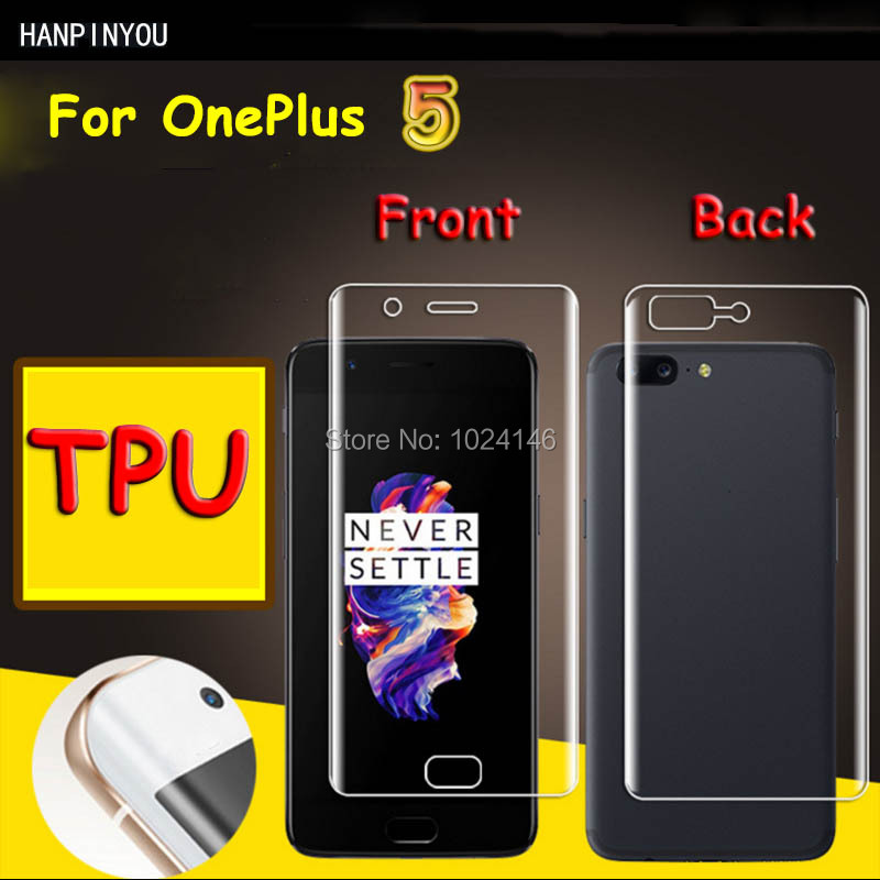 Front/Back Full Coverage Clear Soft TPU Film Screen Protector For OnePlus 5 1+ 5 5.5, Cover Curved Parts (Not Tempered Glass)