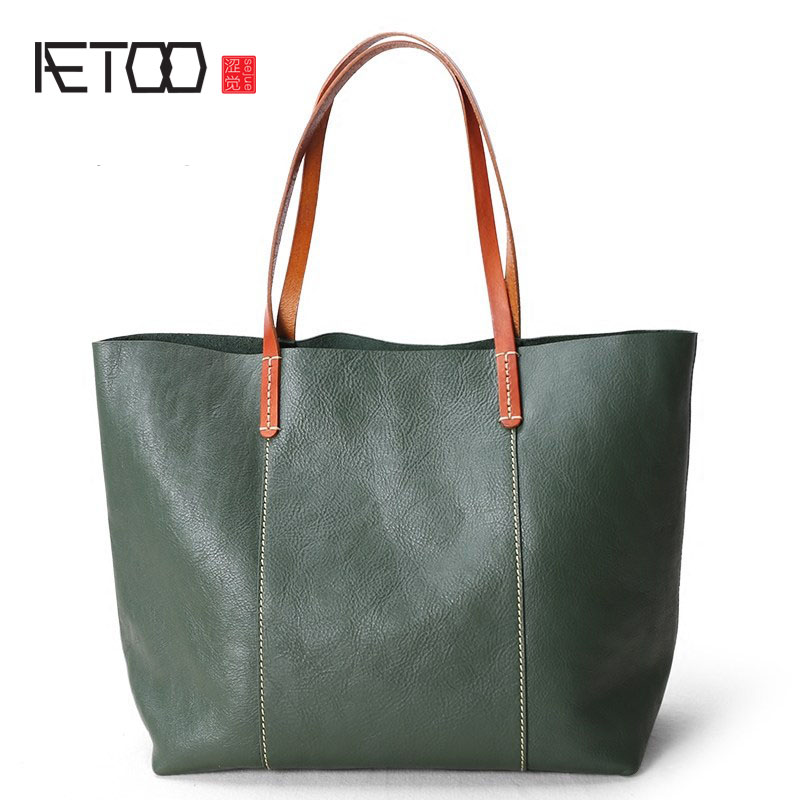 AETOO Women's 2018 new fashion leather large color mixed color tote bag Original leather shoulder bag large bag