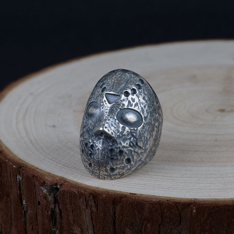 FNJ Punk Skull Mask Ring 925 Silver Anillos Fashion S925 Sterling Silver Rings for Men Jewelry